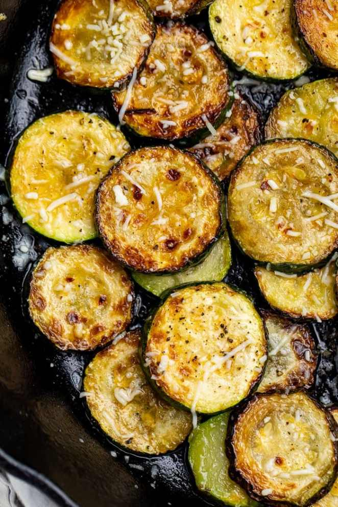 Close-up of sauteed zucchini in a skillet