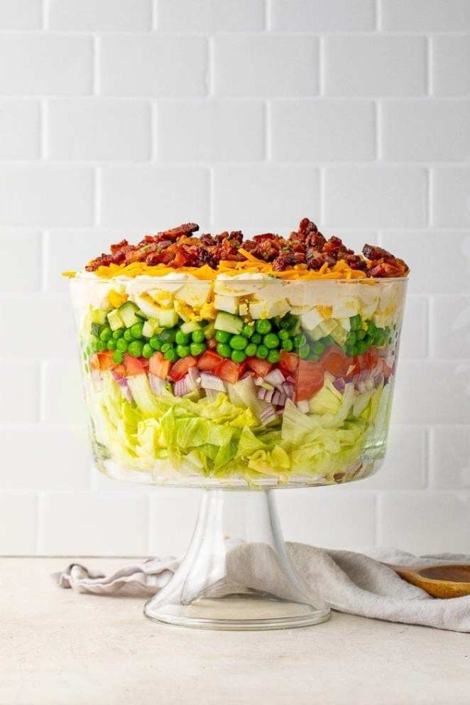 7 layer salad in a bowl
