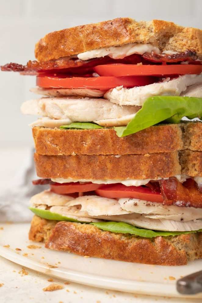 Sandwiches made from paleo bread stacked on top of each other