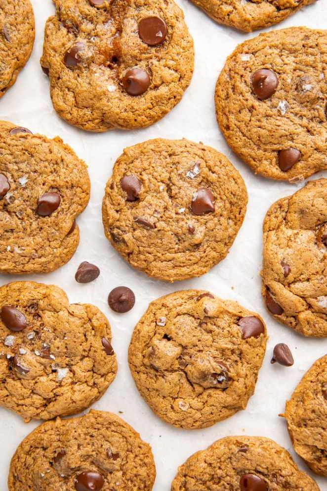 Paleo chocolate chip cookies on parchment paper