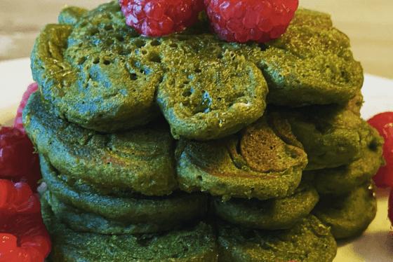 Matcha Shamrock Pancakes Featured Image