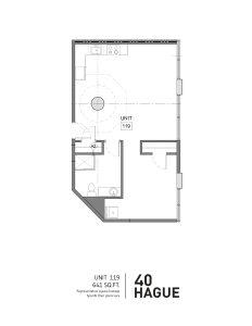40 hague floorplan for unit 119, a one bedroom loft in Detroit