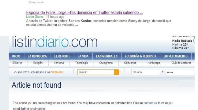 Listín Diario publicó la denuncia y luego la eliminó