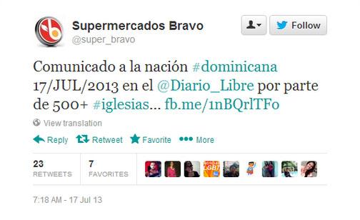 El tuit de Supermercados Bravo