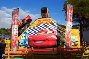 Lightning McQueen Piston Cup inflatable challenge.