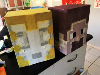 minecraft party Stampy Cat and Steve heads construction