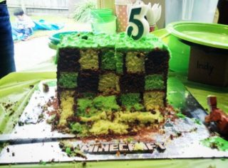 minecraft party cake checkerboard inside