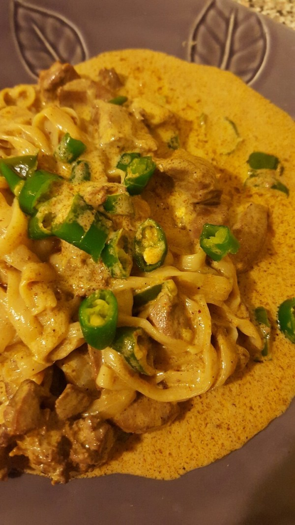 coconut ccurry pasta pork kidneys