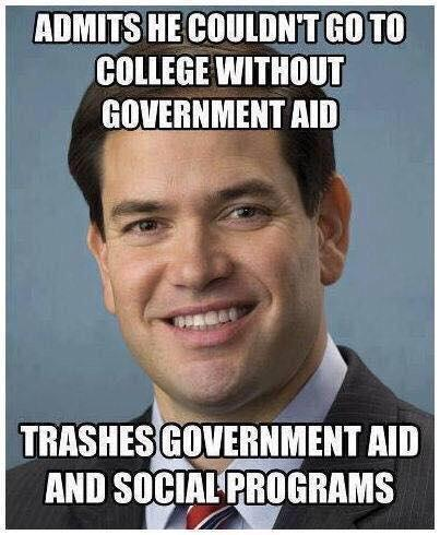 "liberalsarecool:  Republican politics: ""me first"" with the heaping portions of hypocrisy. #marcorubio"