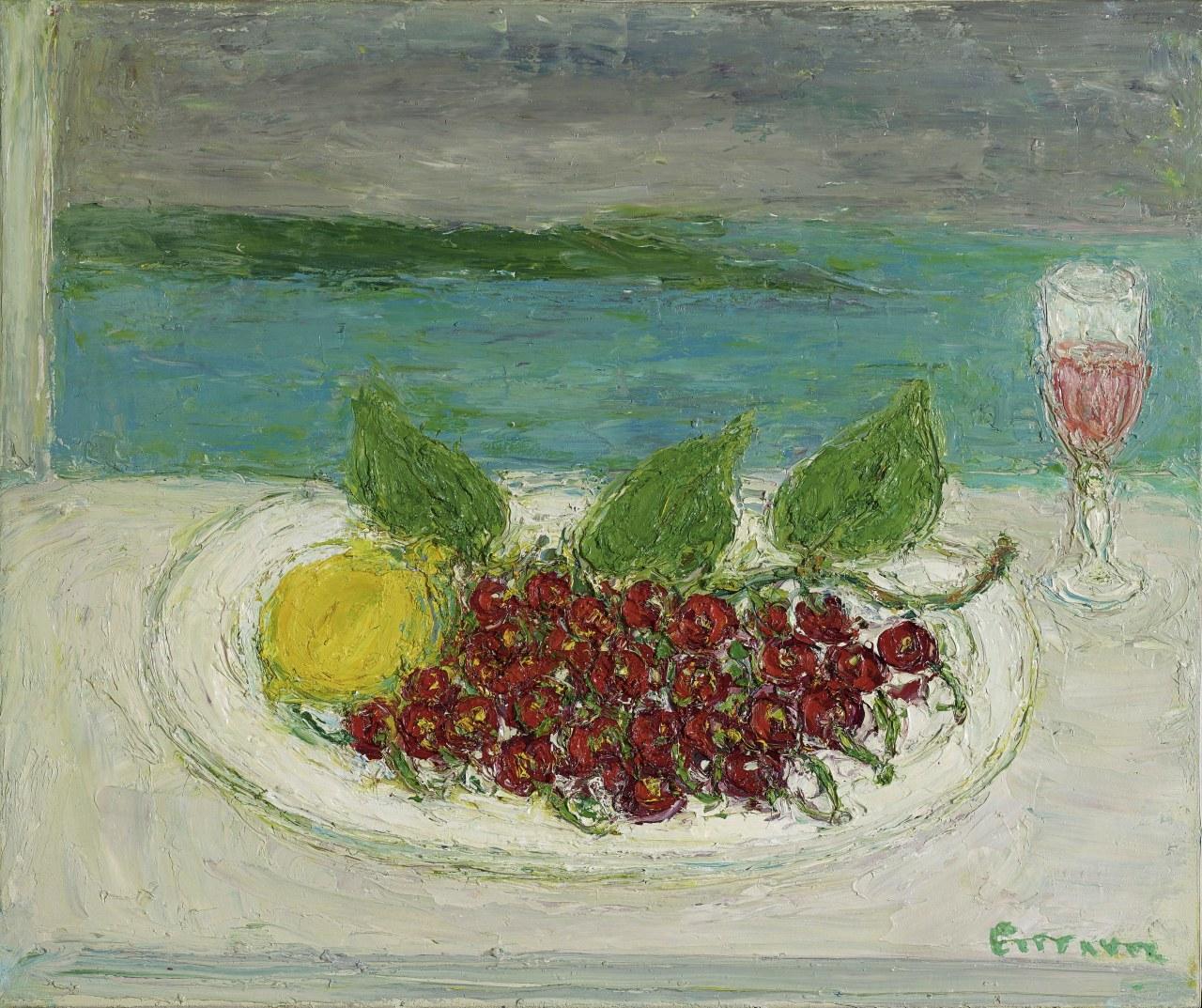 amare-habeo: André Cottavoz (French, 1922-2012)Cherries in front of the sea (Cerises devant la mer), N/ROil on cnavas,46 x 55 cm