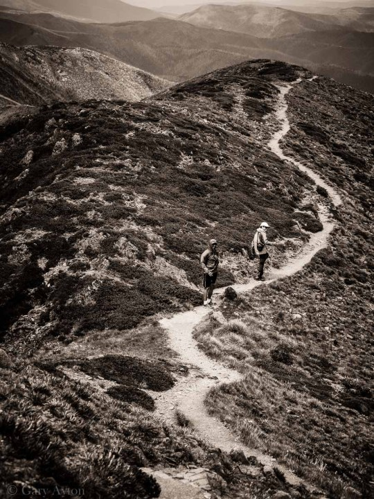 walking along the highest ridge