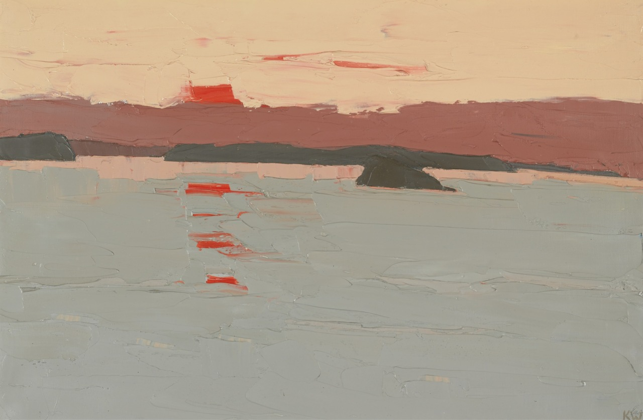 thunderstruck9: Kyffin Williams (British, 1918-2006), Sunset over Anglesey. Oil on canvas, 20 x 30 in.