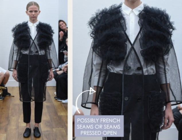 Rethinking Seams at Noir Kei Ninomiya | The Cutting Class. Noir Kei Ninomiya, SS16, Paris, Image 3. Possibly french seams or seams pressed open.
