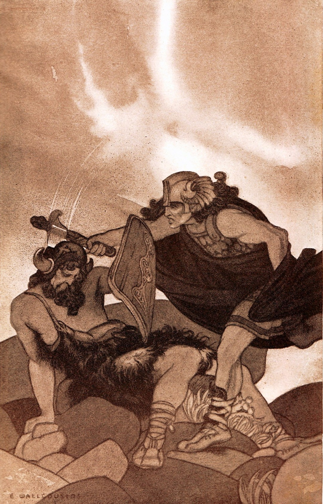 Gwydion kills Pryderi, in a 1905 illustration by Earnest Wallcousins
