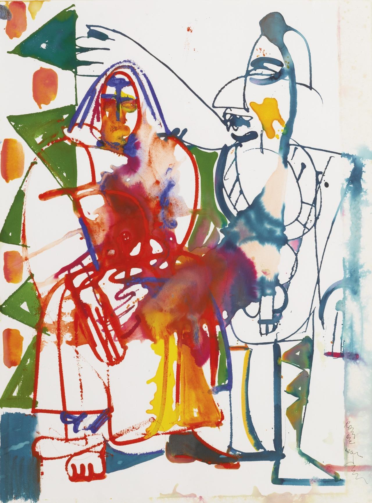 thunderstruck9:  Romare Bearden (American, 1911-1988), Obeah with Bird Loa, 1984. Watercolor on paper, 30 x 22 ¼ in.