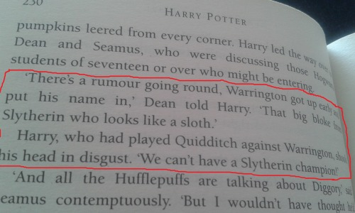 "prismatic-bell:  cinematicnomad:  aplatonicjacuzzi:  crazybutperfectlysane:  So I was rereading Harry Potter, when I came across this and thought- what if instead of Cedric Diggory, Cassius Warrington had been chosen to compete in the Triwizard Tournament?Imagine Dumbledore calling out the name of the Hogwarts champion and it isn't a Gryffindor, or a Ravenclaw, or even a Hufflepuff, but it's a Slytherin. A student from a House most people hate.Imagine Cassius Warrington getting up, and three out of four Houses are booing at him and shouting things like ""NO!"" or, ""We can't have a Slytherin champion!"" or demanding a retry. But he's a Slytherin- he's been dealing with this shit since he got sorted, so he keeps his head high and joins the other champions.Imagine Harry trying to catch Warrington alone because he doesn't really want to associate with Slytherins (plus Malfoy has this tendency of being around the guy ALL THE TIME since he got chosen), but at the same time he's also fair enough not to want him to walk into the first task unprepared.Imagine Warrington walking over to Harry a few months later, and Ron and Hermione both jump into a protective stance, wands out, but instead of attacking Harry he just tells him to stick the egg underwater. (Because Slytherins don't forget those who helped them out).Imagine Warrington and Harry helping each other out in the labyrinth.Imagine Harry being devastated when Peter kills Warrington- because Voldemort doesn't care what house they're form, a spare is a spare.Imagine the uproar that causes among the Slytherins, because some of their parents really are Death Eaters and they know what really happened.Imagine Slytherins fighting in the Battle of Hogwarts and shouting ""This is for Cassius!""  Imagine Harry returning with Warrington's body, and the crowd realizes what's happened, but Warrington's parents don't show up. There's no one to mourn him, to cradle him in their arms and cry for their son. The Slytherins know why. His parents were Death Eaters, too.Imagine Slytherins reaching out, asking for help from classmates from other houses. They're terrified, truly terrified because the being their parents claimed would never hurt them because they're pureblood, they realize that he does not care.Imagine Slytherins in the 5th book sneaking off to join Dumbledore's Army, to learn more about who Voldemort is without their parents acting as a filter. Imagine the shock when they're told what he's really done.Imagine that a few talented Slytherins went with Harry and the others into the Ministry of Magic. The others are a bit wary but they prove themselves as friends.Imagine them being confronted by Lucius Malfoy in the the Hall of Prophecy, and when the Death Eaters descend, they know that any one of them could be their parents.Imagine the shocked gasp of a Death Eater as they realize their own child, a pureblood, is standing defiantly with Harry Potter. They choke back a cry. They can't let their child know that they were about to duel to the death.Imagine a DA Slytherin facing off against their own Death Eater parent. That they make the decision to let their child defeat them, because in that moment, they realize that they love their child more than they fear Voldemort. They go down, mask unveiled, and the Slytherin kid has to be dragged from the fight before he gets killed.Imagine Book 6 Slytherins getting more friendly and cooperative with the other houses. Two years of Voldemort terrorizing the muggle and Wizarding world, two years where their parents just up and leave some days, cringing from the pain in their arm, two years after the death of the first Slytherin pureblood, Cassius Warrington, killed by Voldemort's right-hand man, and they're slowly hitting the breaking point.Imagine Slytherin kids keeping tabs on their parents, sending the information to Harry, who shares it with the Order of the Phoenix, and hoping that their parents won't be killed.Imagine Book 7 Slytherins low-key rebelling against the new oppressive Hogwarts staff.Imagine the final siege on Hogwarts, where Slytherins stand proudly by their fellow houses, knowing full-well they could be fighting their own parents. Some Slytherins know their parents were in the fighting. They hope to find them first and sneak them away. Their fellow students understand. Professor McGonagall allows 7th Year Slytherin, Pansy Parkinson, to duel a death eater in her stead; her father is under that veil. She knows it.Imagine the aftermath of the battle; every house suffered loses. Slytherin students crying over the deaths of friends they made in every house.Imagine    a Cassius Warrington statue made in his honor, the first Slytherin to fight and die nobly with Harry Potter, the boy who lived, in the face of ultimate evil. He was a true Slytherin, and it's in his name that Slytherin children and their families have cut all ties with the Death Eaters, denounced Voldemort, and are finally living in peace.  #i do enjoy cedric #but this would have been immensely wonderful in many ways (via batty4u)   Imagine a story in which Harry wasn't in love with his fellow champion's girlfriend, but after her boyfriend's death just hugs her so long, so hard, and says ""he wanted to win for you. You should know–you should know he won, he did it for you"" and gives her the best hug and shoulder he knows how to be because her parents aren't there either and she must know why.Imagine Harry staring over her head at everyone else until Hermione steps up–it doesn't take long, but it takes long enough that when she does all eyes are on her as a source of motion–and says ""we're never going to forget this. They're not going to get away with it"" and the girlfriend just latches onto Hermione and everyone is in wands-out stance convinced she's about to attack the shit out of Hermione, and then the girlfriend stares into her eyes and says ""do you promise me"" and Hermione just gives her this super-firm nod and says ""I promise"" and the girlfriend just collapses on her, sobbing. Imagine Dumbledore trying to give some flowery speech about inter-wizard solidarity while glossing over why, because Slytherins have always been a touchy subject, and Ron gets to his feet and says ""Professor, I need to say something important"" and Dumbledore is so surprised he just cedes the floor, and Ron–after that awkward moment when he realizes everyone is staring at him–says he didn't know Warrington particularly, but he knows how Warrington and Harry played. That each was always cheering on the other. Both wanted to win, but neither was willing to undercut the other by underhanded means. He finishes up saying ""I think–I think it's important everyone should know he died being what a champion should be. Because he could have abandoned Harry and instead he stood up with him to play the game the honest way, and he died for it. And–and Slytherin House should be proud, and we should all be proud, because Warrington was a good bloke."" He sits back down all flustered because he didn't actually stand up meaning to make a speech. And then Pansy Parkinson stands up before Dumbledore can take back control of the room and says ""I want to tell Weasley thank you."" And all of Slytherin House raises a glass–to Warrington, to Weasley, to Potter–and the other houses follow suit. Many years later, Wizarding scholars will say that was the moment Voldemort truly lost.Imagine later that summer. Harry gets several owls on his birthday, all unsigned. The birds are plump and pretentious and well-cared-for. He will never know which Slytherins sent him their treasures: parchments with hexes developed by the Death Eaters; a strange locket that will only open if he whispers a special spell but that always shows him the picture he most needs to see; a page torn from a potions book that, brewed properly, will allow him extra time to summon a Patronus by giving him a few crucial seconds not just of happiness but of bliss. It doesn't matter. Harry knows these gifts not as birthday gifts but for what they really are, and he treasures the locket and copies out the potion to send to Hermione and Mrs. Weasley, and when first summoned by the Order of the Phoenix he marches straight up to Dumbledore with the hexes and says ""I can't tell you where I got these, Professor. But they're in use by the Death Eaters and I think you should have them."" Months later, Sirius will recognize the spell Bellatrix shoots at him, and will dive out of the way just in the nick of time.The final battle. Everyone is there. Sirius somehow ends up herding a group of Slytherins. They all stare at him and he at them, across a centuries-old divide Voldemort has only succeeded in deepening. Then he remembers the hexes. Harry's locket, now tucked under Sirius' shirt because Harry's friends are with him in this battle but most of Sirius' are dead. The moment that happiness potion saved Remus' life, his very soul. Snape's final words to Harry, finally seen not as mockery but real true advice. What Harry said Voldemort said–his first words in his new form. They are kids, and they are sharing the same kind of hurt he once wouldn't admit to, watching his mother burn his name off the family tree. ""When we go in there, it's going to be hell,"" he tells the Slytherins. ""Some of you are probably going to die. I might go down too, and if I do I want your best curser in the front. But I want you all to remember one thing. There are no spares.""  Later retellings of the battle never fail to mention the moment a group of angry, screaming teens burst into the Great Hall, wearing their green and silver as the badge of honor it should be, shouting NO SPARES, NO SPARES at the tops of their voices in between hexes and curses and the occasional physical punch. When Hermione is present, she always interrupts the storyteller to be sure everyone knows about the moment Blaise Zabini shoved her to the floor, dropped on top of her, fired off three curses in rapid succession and said ""stay alive, Granger, we need you"" before jumping back to his feet and vanishing into the melee–how, for all anyone knows, those may have been his last words, and she will not let his sacrifice go unnoted. The aftermath. Malfoy holds out a hand to Sirius, badly injured on the floor. Sirius asks how Malfoy is willing to trust him. Malfoy nods at his chest. ""You've got my godfather's locket,"" he says, and when Sirius and Harry finally speak after the battle Harry gives his full agreement to the very first thing out of  Sirius' mouth. They give the locket to Malfoy. Sirius grits his teeth and closes his eyes and opens them and says ""He probably saved my life, giving Harry that."" He doesn't say thank you. Malfoy hears it anyway. The school reopens under a single banner: the four Houses united. The House rivalry is reduced to just that–a competition in fun–with those deep divides slowly healing to scars, and eventually away to nothing at all.Imagine it."
