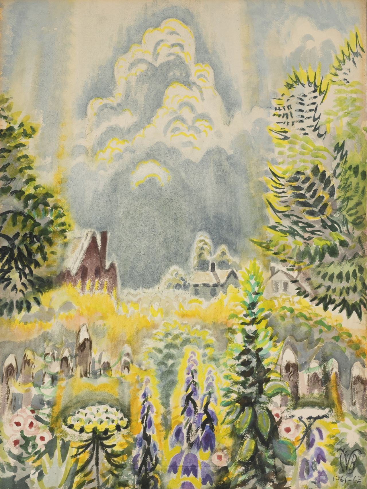 thunderstruck9:  Charles Burchfield (American, 1893-1967), Flower Garden and Pillar of Cloud, 1961-62. Watercolor on paper, 40 x 30 in.