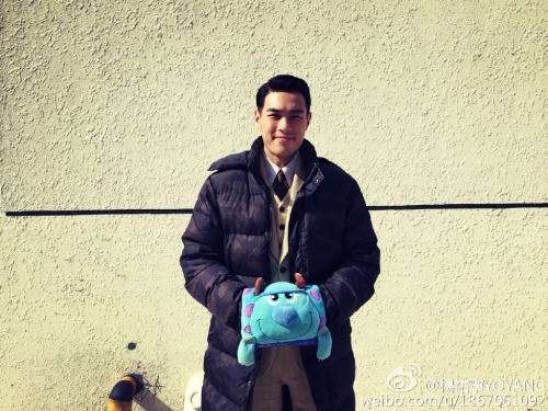 Tony Yang with Monsters Inc. warm plushie