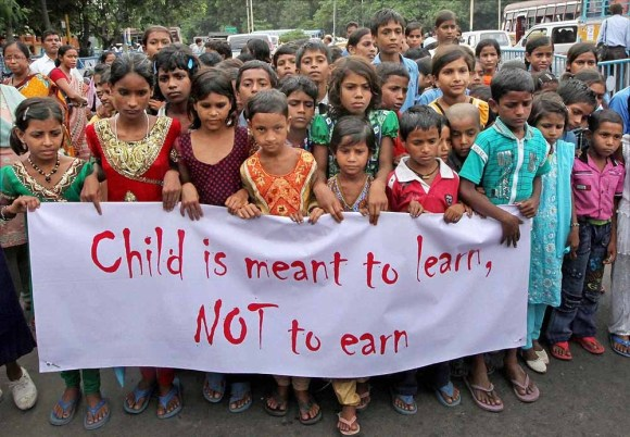 A 2013 rally against child labour in Kolkata, India.