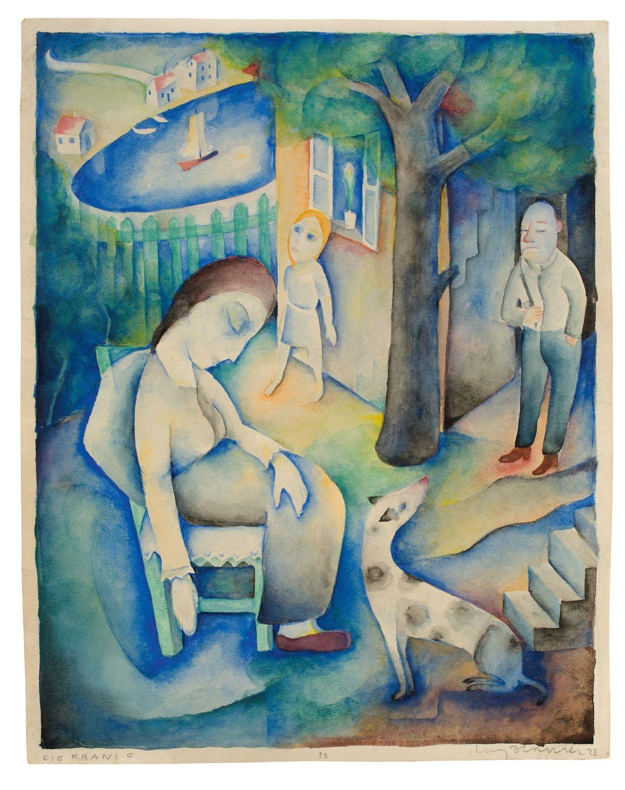 """amare-habeo:  Carry Hauser(Austrian, 1895 – 1985) In the Garden (The sick woman) (Im Garten"""" (Die Kranke)), 1922 Watercolour on paper, 35,2 × 27,7 cm"""