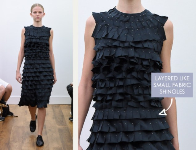 Rethinking Seams at Noir Kei Ninomiya | The Cutting Class. Noir Kei Ninomiya, SS16, Paris, Image 6. Layered like small fabric shingles.
