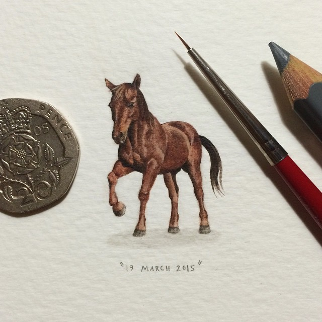 Day 11/100 (3/25 #fursdays) : Murrie the horse. 🐎 22 x 30 mm. #potluck100pfa #fursdays #miniature #watercolour #paintingsforants #horse (at Observatory)