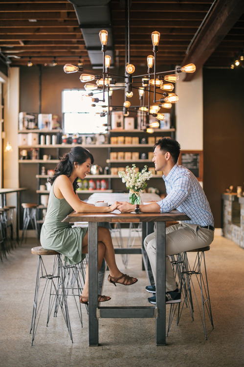 breanna-lynn:jspark3000: Some of our engagement photos at Buddy Brew Coffee, taken by Angel He Photography. Awww