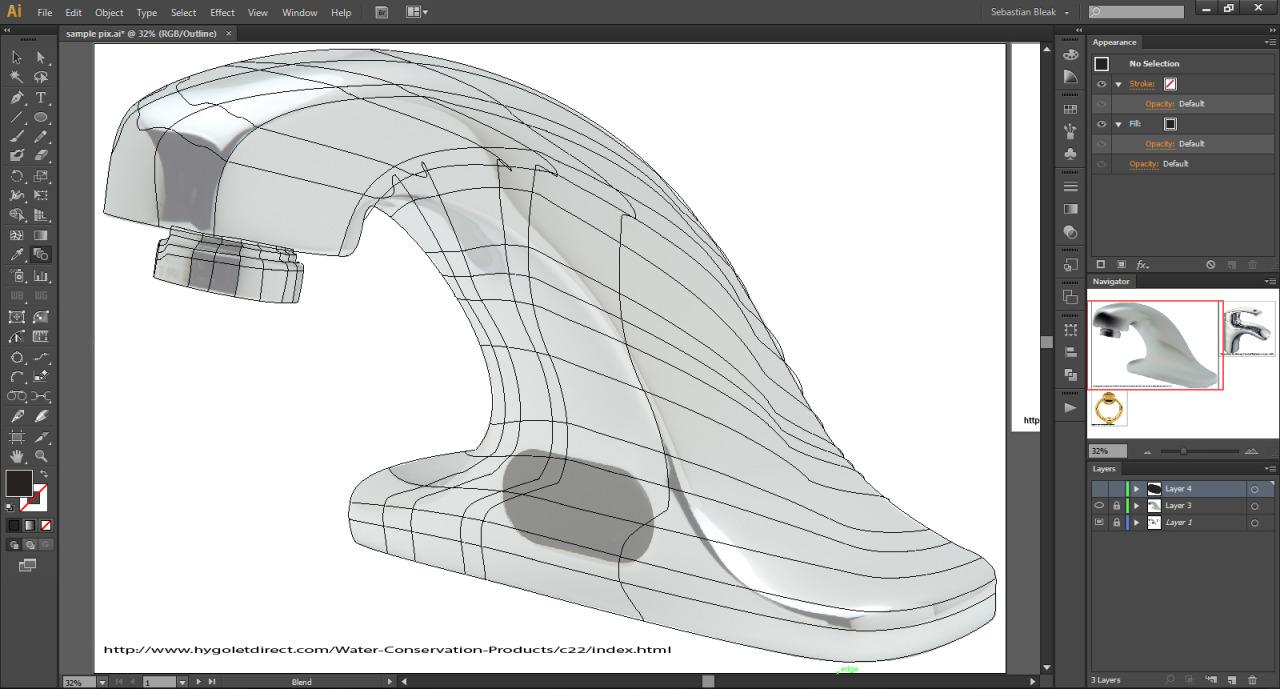 Adobe Illustrator Gradient Mesh Wire Frame