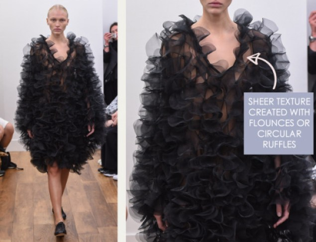 Rethinking Seams at Noir Kei Ninomiya | The Cutting Class. Noir Kei Ninomiya, SS16, Paris, Image 1. Sheer texture created with flounces or circular ruffles.