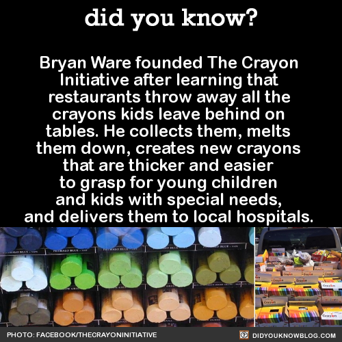 """From The Crayon Initiative website:  """"The wax from crayons is not biodegradable and will never break down, leaving a waxy sludge in our landfills for centuries to come. The Crayon Initiative supports environmental efforts by diverting crayons from the landfills.""""""""Annually, between 45,000 and 75,000 pounds of broken crayons are discarded in landfills throughout the country. By collecting unwanted crayons from restaurants, schools, as well as other locations, and recycling them into new ones, The Crayon Initiative is doing our part to prevent crayons from depositing in the landfill.""""Here's how you can help out by spreading the word or collecting crayons from schools and restaurants in your town.Source"""