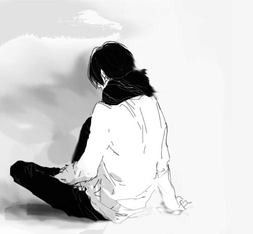Animated Boy Sitting Alone Sidewalk