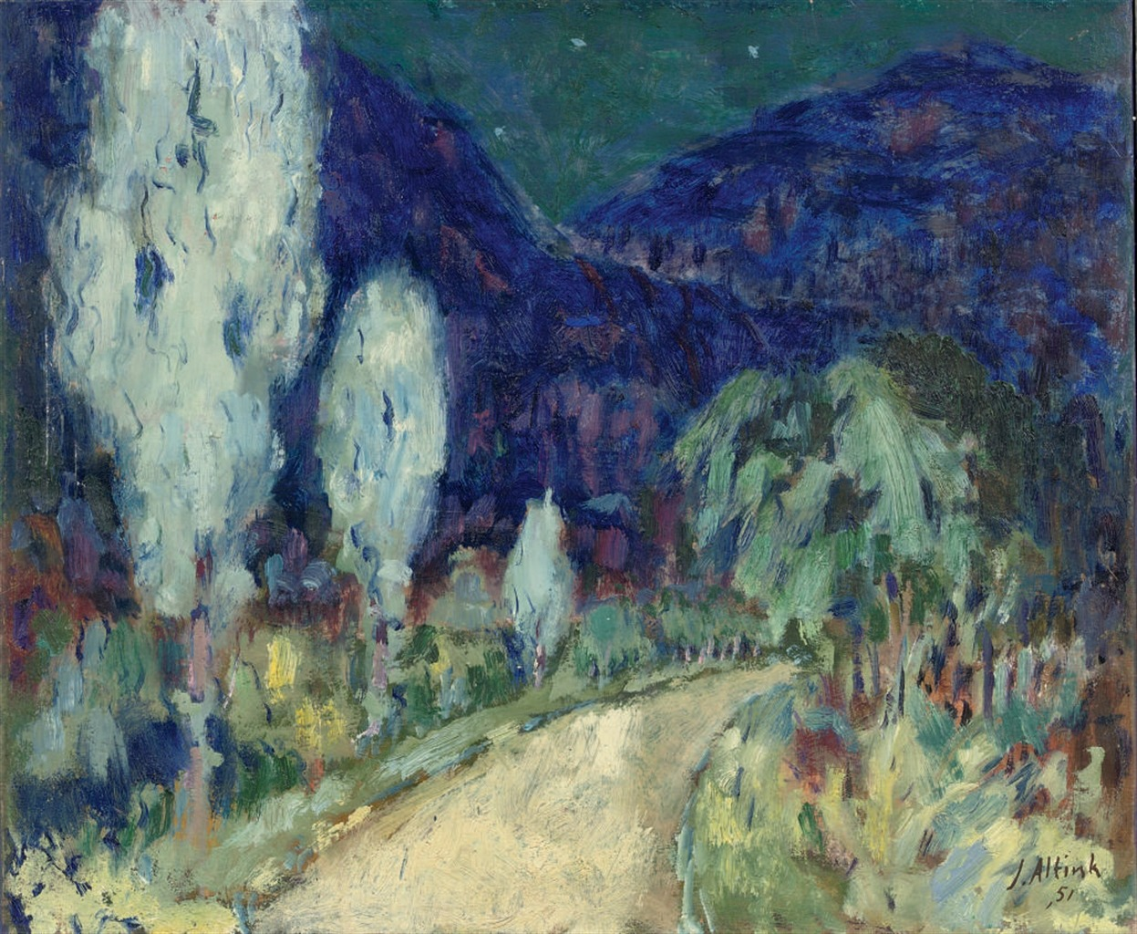 thunderstruck9:  Jan Altink (Dutch, 1885–1971), A hilly landscape by night, 1951. Oil on canvas, 50 x 60 cm.