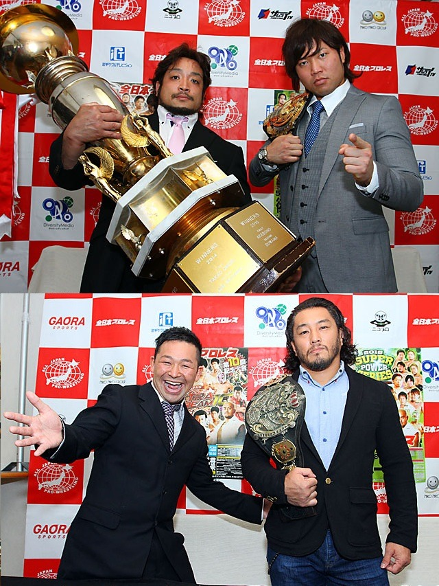 "[AJPW News] Following the conclusion of the Champion Carnival, a press conference was held today to formally sign the upcoming Triple Crown defense. As well as Atsushi Aoki and K-DOJO's Kaji Tomato were present to sign their upcoming World Jr. match as well.Following the Champion Carnival, BJW's strong leader Daisuke Sekimoto emerged the victor as his years of hard work have lead him achieve part of his dream. Now he moves on to challenge for the Triple Crown belt for the first time in his career on May 25 at the Korakuen Hall. Sekimoto has declared that he wants to capture all the belts in All Japan starting with an upcoming challenge for the Asia Tag belts on 4/29 when he teams with the veteran Great Kojika. Miyahara though has vowed that he shall reclaim his loss against Sekimoto, which his suffered in the final block match of the league, as well as to defend the belt from outside promotion. Speaking of the 5/25 show, Sekimoto's main tag partner Yuji Okabayashi has been placed against the reigning World Tag Champion Zeus in a special singles match. Sekimoto acknowledged this as he stated that they aim for the World Tag belts in the near future. Stemming off Sekimoto beating Zeus in the finals of the Carnival. As for his performance in the Carnival, Miyahara stated that he is eager to reclaim his loss against Akiyama and the draw he suffered against Mashimo. Though first he must survive a formidable challenge in Sekimoto.AJPW ""2016 Super Power Series"", 5/25/2016 [Wed] 18:30 @ Korakuen Hall in Tokyo (-) Triple Crown Heavyweight Championship Match: [55th Champion] Kento Miyahara vs. [Challenger] Daisuke Sekimoto~ 2nd title defense. Then a press conference was held for the upcoming World Junior Champion match as Atsushi Aoki will be taking on Kaji Tomato on 5/7 in Chiba. Kaji challenged the champion back on 5/9 of the opening day of the Champion Carnival in which Aoki accepted. Aoki has previously stated that the doors are open for anyone and everyone to make a challenge in which he commends Kaji for stepping forward. This match also stems way back to the Junior League back in 2014 where Kaji actually claimed an upset win over Aoki. Aoki noted that he has seen how much Kaji has grown since then and wants a strong match, but also he declared that he will remain champion. Kaji acknowledged that this will be first ever challenge for the belt and though Aoki asked him to not dance on the way to ring, as that is part of his shtick, Kaji stated that he wants to be at his highest level heading into the match. That he wants to set his own pace as the challenger.All Japan Pro-Wrestling ""Chiba EXTRA DREAM 10 ~ 10th Anniversary Show"", 5/7/2016 [Sat] @ TKP Garden City Chiba (-) World Junior Heavyweight Championship Match: [39th Champion] Atsushi Aoki vs. [Challenger] Kaji Tomato (K-DOJO)~ 2nd title defense. Among any other news bits, Super Tiger and Ryoji Sai have both stated that they aim to continue competing in All Japan in the future. Which the 5/22 show specifically has been changed as them two will team together as they take on Miyahara and Lee.AJPW ""2016 Super Power Series ~ SKIP BEAT Kawaguchi ~"", 5/22/2016 [Sun] 13:30 @ SKIP City in Saitama (-) Kento Miyahara & Jake Lee vs. Ryoji Sai [FREE] & Super Tiger [RJPW] The event cards for the next couple months can be seen through the link below… (as they are released)AJPW Event Cards for May & June 2016http://puroresuspirit.net/2016/04/ajpw-event-cards-for-may-june-2016/"