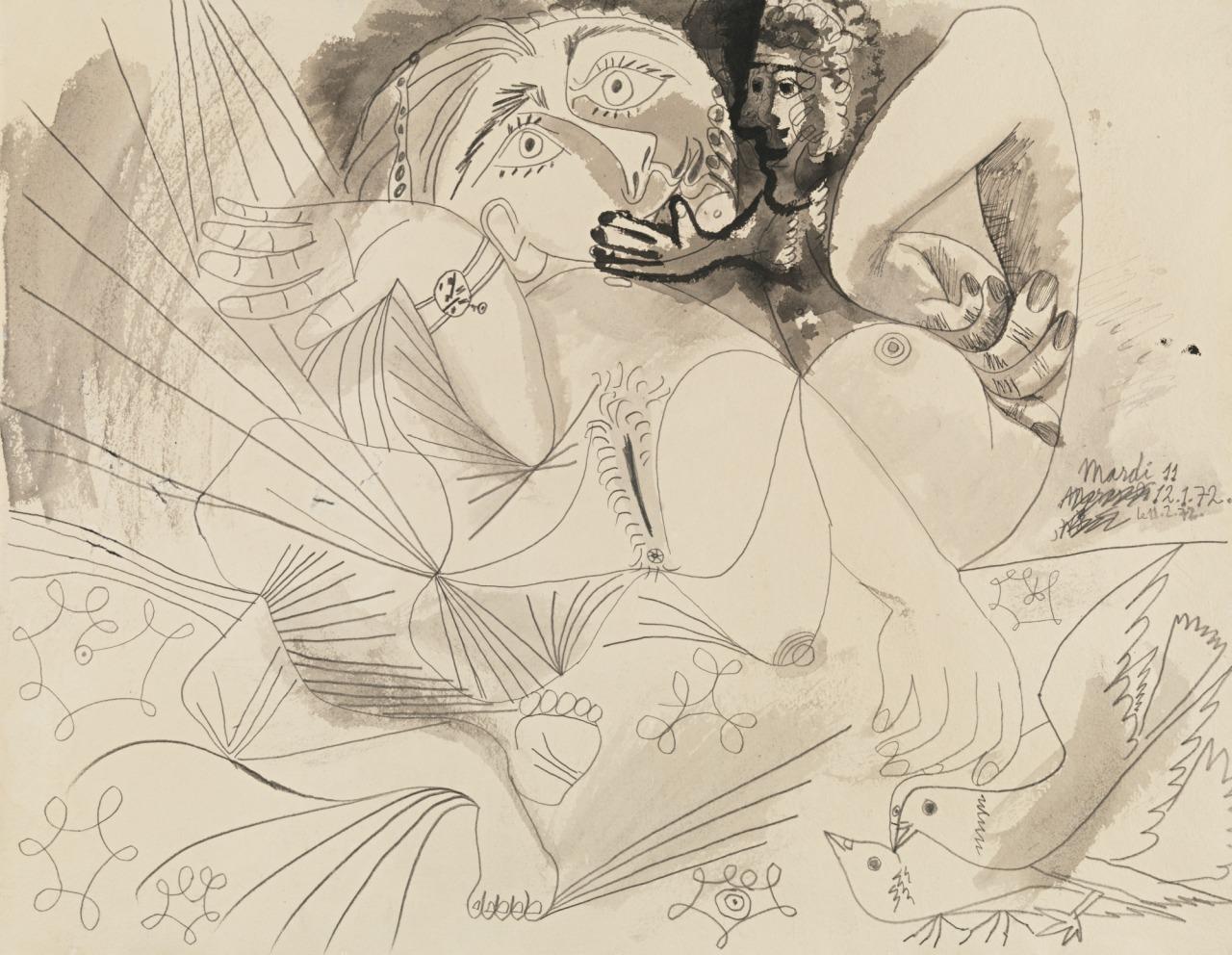 artexpert:  Nu couché, personnage et deux pigeons (1972) - Pablo Picasso