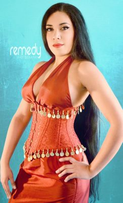 """Oriental Princess"" ensemble made by Serinde Corsets. Modelled by myself (Lucia Corsetti), photo by Remedy Photography."