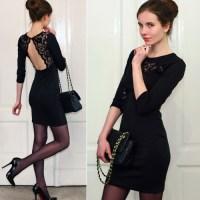 Black Backless Lace Dress