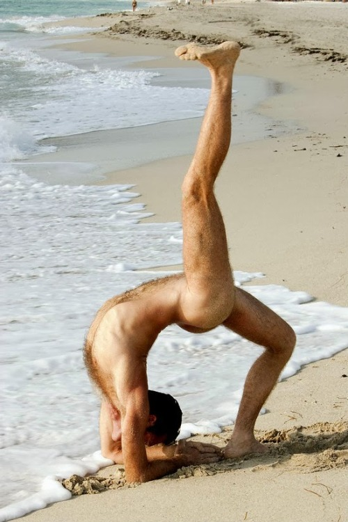 naked yoga beach