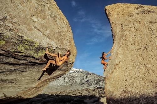 naked rock climbing, bouldering