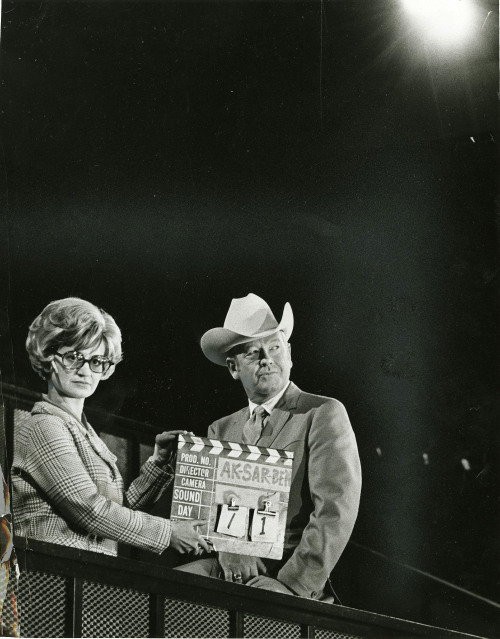 Connie Spittler works the board as Rex Allen gets ready to shoot a scene in the 28-minute film on the story of Ak-Sar-Ben. Published Nov. 16, 1968. (Richard Janda/The World-Herald). Editor's note: Turns out Connie Spittler, the woman in the photo, has a blog. You can find out more about the story behind this photo here. Also, how awesome is that cigarette behind her ear?