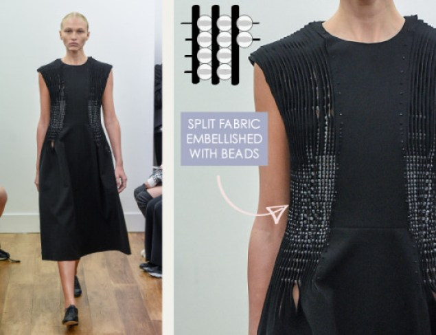 Rethinking Seams at Noir Kei Ninomiya | The Cutting Class. Noir Kei Ninomiya, SS16, Paris, Image 5. Split fabric embellished with beads.