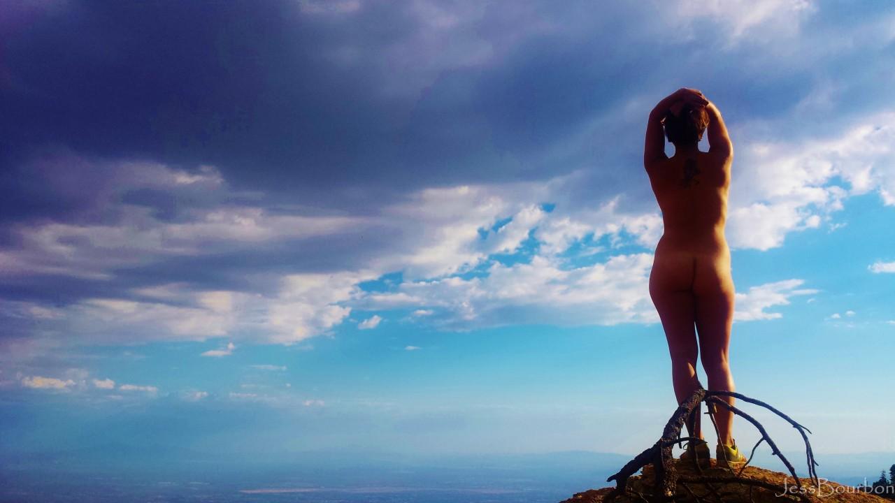 JessBourbon against a vivid blue sky
