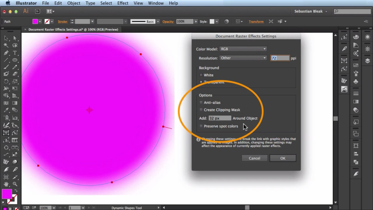 Adobe Illustrator Rastor Effects Settings