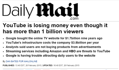 Recorte de Daily Mail sobre las pérdidas de Youtube