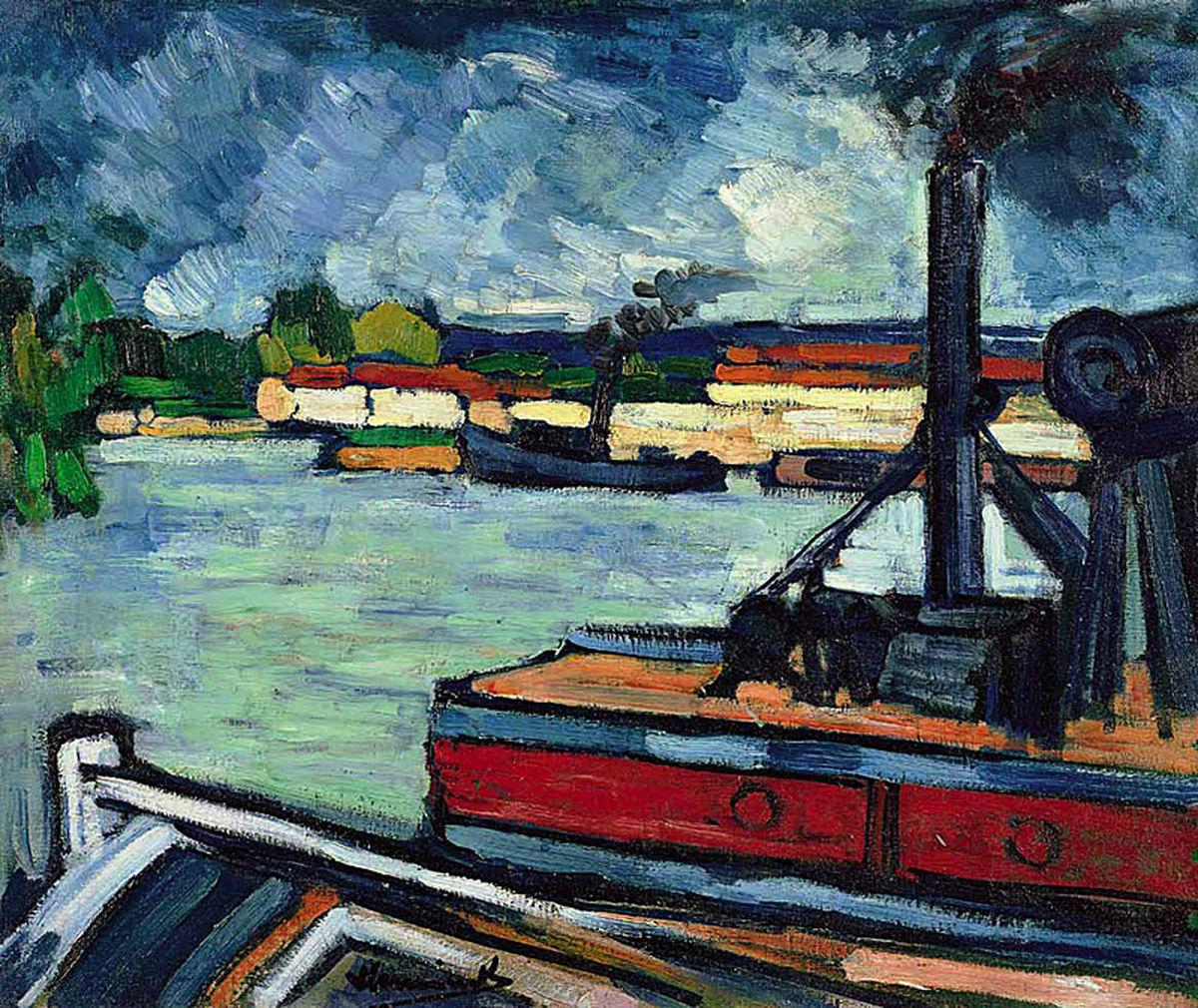 kundst:Maurice de Vlaminck (Be. 1876-1956)The river Seine near Nanterre (1906-1907) Oil on canvas, 60 x 73cmVan Gogh Museum
