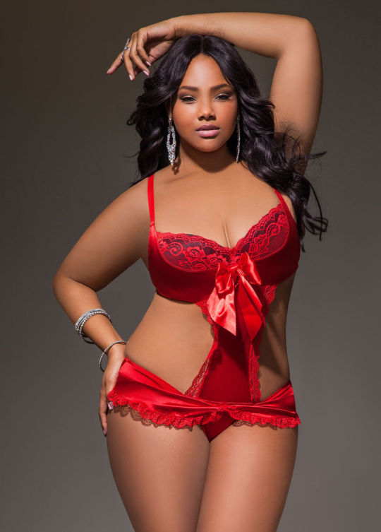 Anita Marshall in Ashley Stewart Satin and Lace Teddy
