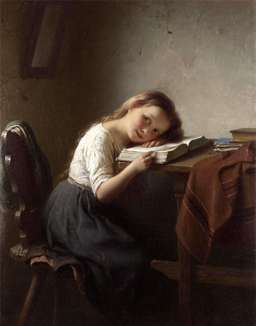 The Little Scholar (1865). Johann Georg Meyer von Bremen (German 1813-1886). Oil on canvas. Genre painter, pupil of Düsseldorf Academy under Karl Ferdinand Sohn and Friedrich Wilheim Schadow, von Bremen started painting biblical subjects, then traveled in the Hessian, Bavarian, and Swiss mountain districts, studying the people for his genre scenes, which have since become wildly known.