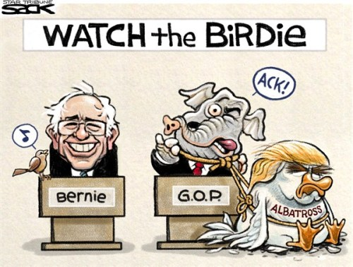 The birds have delivered their verdict. A tiny bird landed on Bernie Sander's podium at a noisy Portland rally and tweeted contentedly(story here), whereas Donald Trump was viciously attacked by an angry American bald eagle when he tried to use it in a photo-shoot (story here) ..