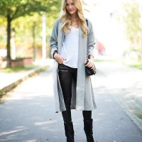 trench coat x leather pants