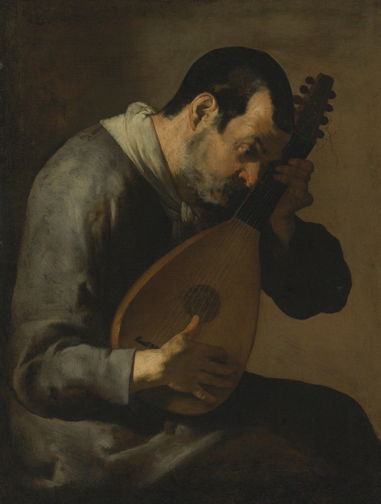 poboh: The sense of hearing, A man playing a lute, The Master of the Annunciation to the Shepherds. Italian, 17th Century.