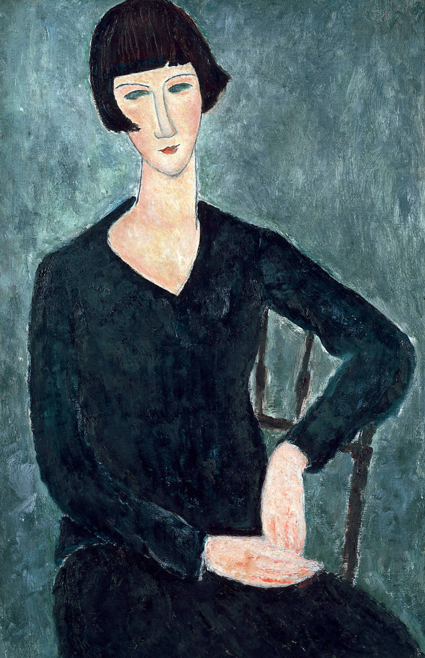 amare-habeo:Amedeo Modigliani (Italian, 1884-1920) - Seated Woman in Blue Dress, 1918 oil on canvas